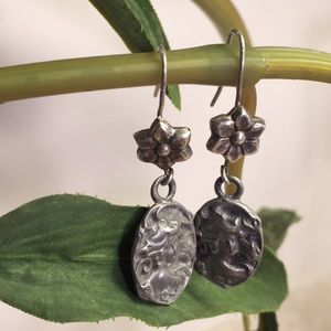Jewelry - 925 Sterling Silver lady with flowers earrings